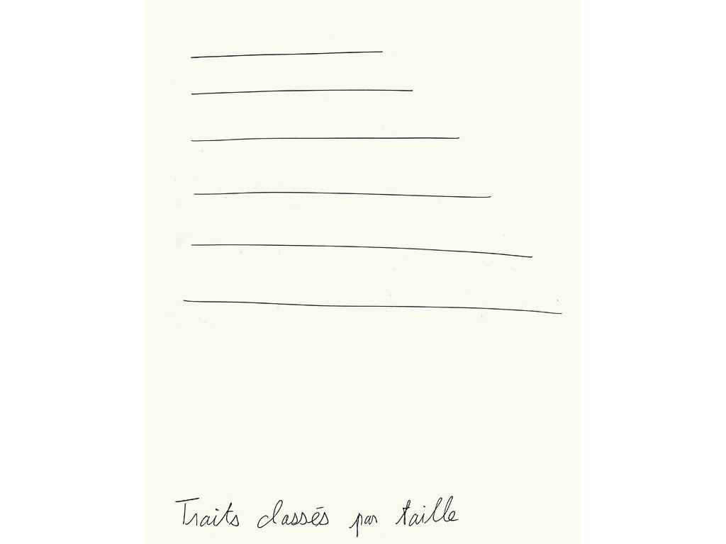 Claude Closky, 'Traits classés par taille [lines classified by size],' 1992, ballpoint pen on paper, 30 x 24 cm.