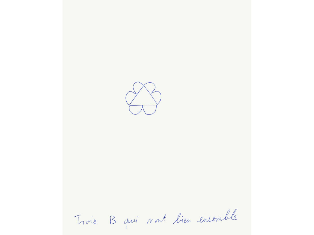 Claude Closky, 'Trois B qui vont bien ensemble [three B that go well together]', 1992, blue ballpoint pen on paper, 30 x 24 cm.