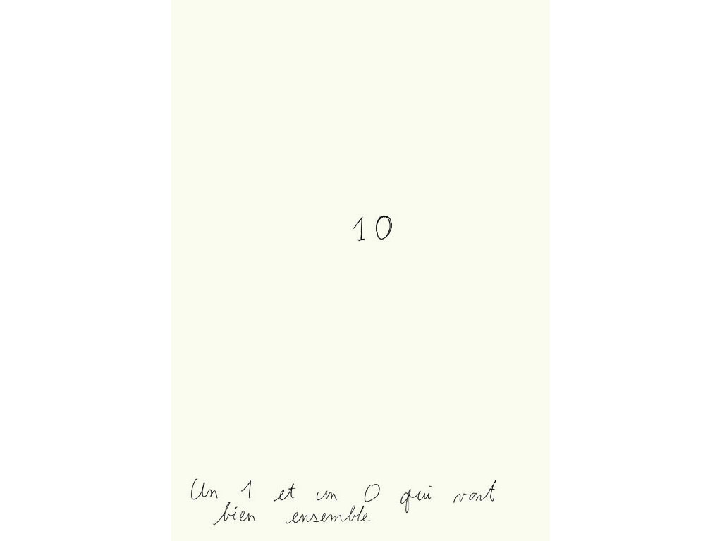 Claude Closky, 'Un 1 et un 0 qui vont bien ensemble [A 1 and a 0 that go well together]', 1990, black ballpoint pen on paper, 30 x 24 cm.