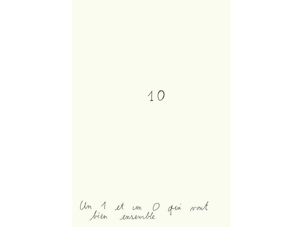 Claude Closky, 'Un 1 et un 0 qui vont bien ensemble [A 1 and a 0 that go well together]', 1990, black ballpoint pen on paper, 30 x 24 cm.