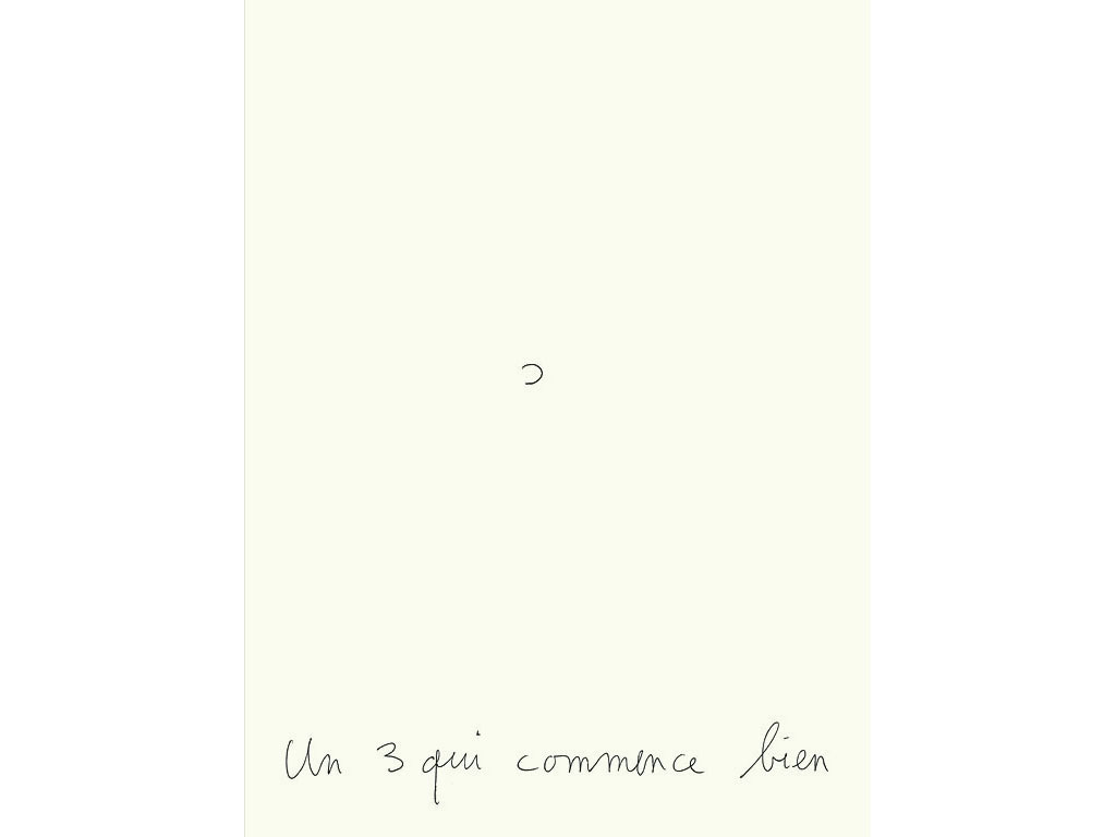 Claude Closky, 'Un 3 qui commence bien [A 3 that starts well],' 1994, ballpoint pen on paper, 30 x 24 cm.