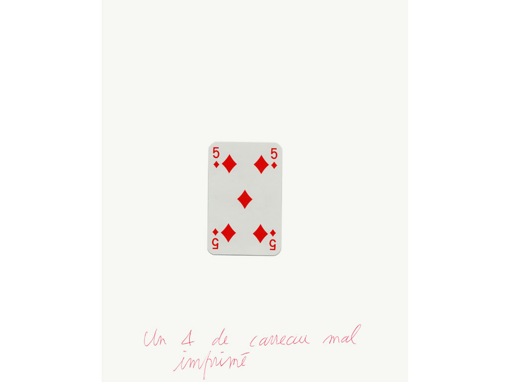 Claude Closky, 'Un 4 de carreau mal imprimé [A 4 of diamonds baddly printed]', 1994, ballpoint pen and collage on paper, 30 x 24 cm.