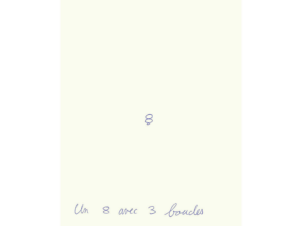 Claude Closky, 'Un 8 avec 3 boucles [an 8 with 3 loops]', 1994, ballpoint pen on paper, 30 x 24 cm.