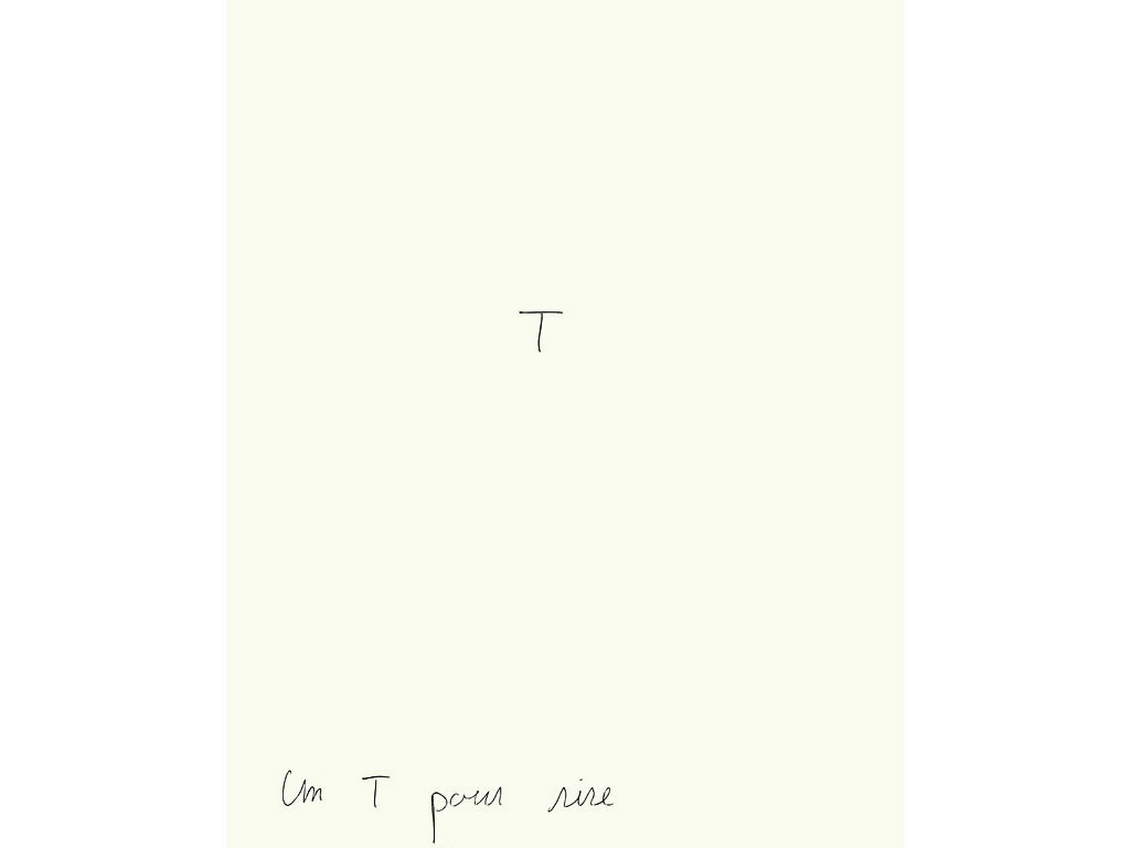 Claude Closky, 'Un T pour rire [a T for a laugh]', 1993, ballpoint pen on paper, 30 x 24 cm.