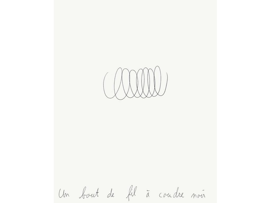 Claude Closky, 'Un bout de fil à coudre noir [a piece of black sewing thread]', 1990, ballpoint pen on paper, 30 x 24 cm.