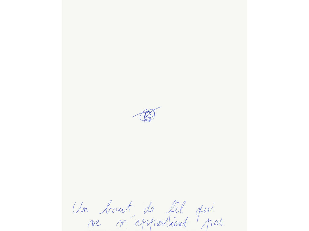 Claude Closky, 'Un bout de fil qui ne m'appartient pas [a piece of thread I don't own]', 1994, ballpoint pen on paper, 30 x 24 cm.