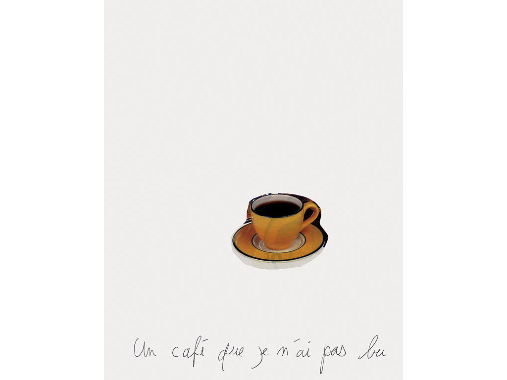 Claude Closky, 'Un café que je n'ai pas bu [A cup of coffee I didn't drink],' 1994, ballpoint pen and collage on paper, 30 x 24 cm.
