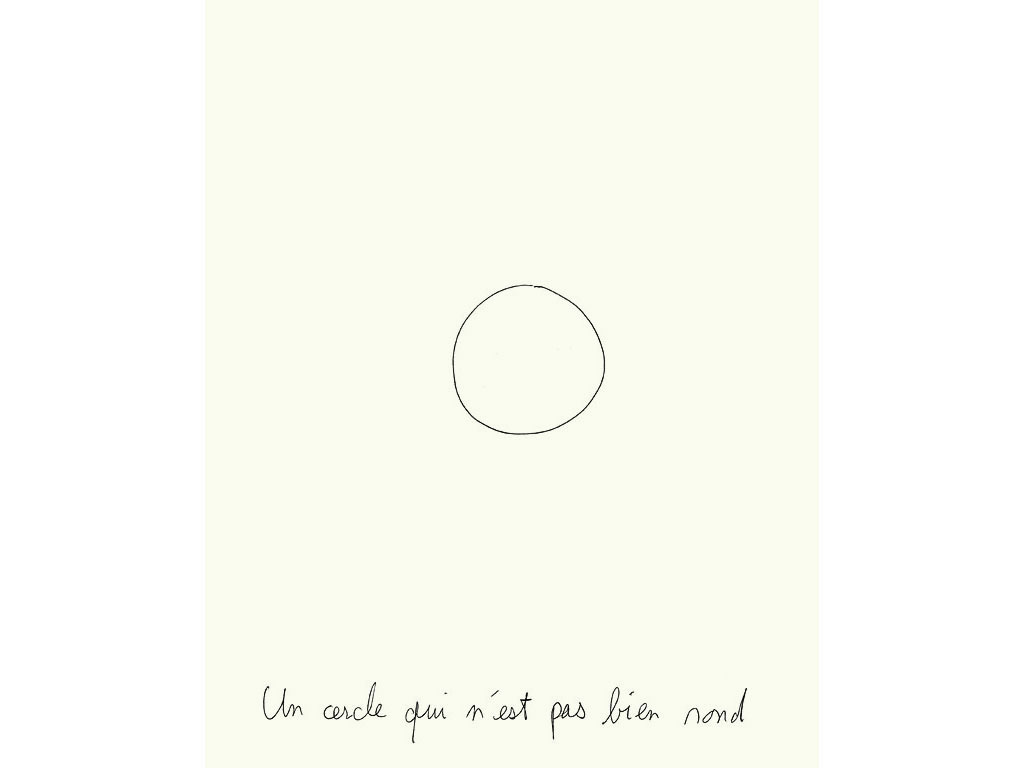 Claude Closky, 'Un cercle qui n'est pas bien rond [a circle that is not very round]', 1993, ballpoint pen on paper, 30 x 24 cm.