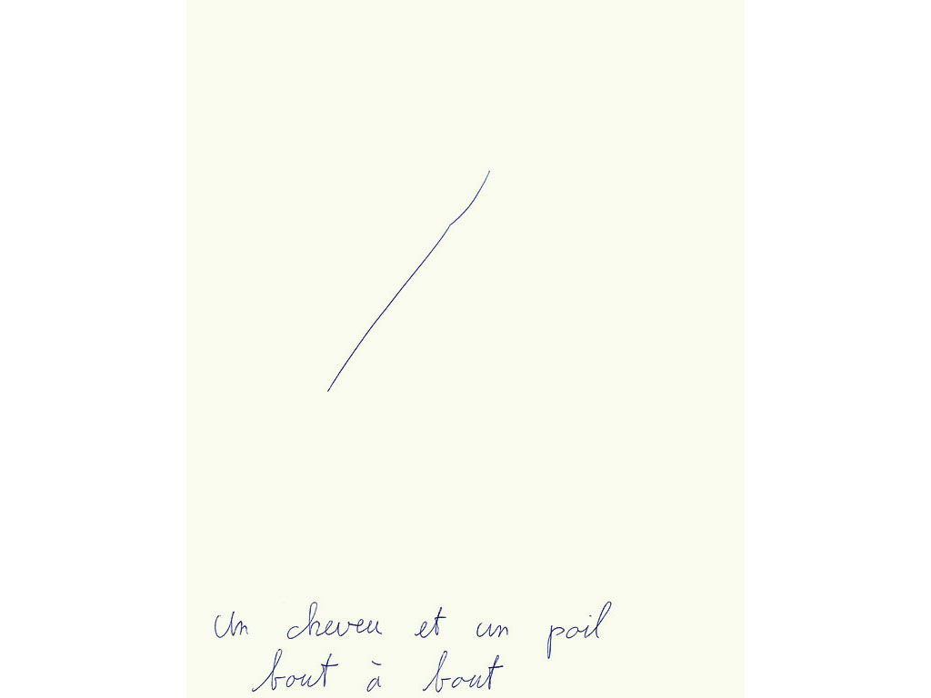 Claude Closky, 'Un cheveu et un poil bout à bout [hair and body hair end-to-end]', 1993, ballpoint pen on paper, 30 x 24 cm.