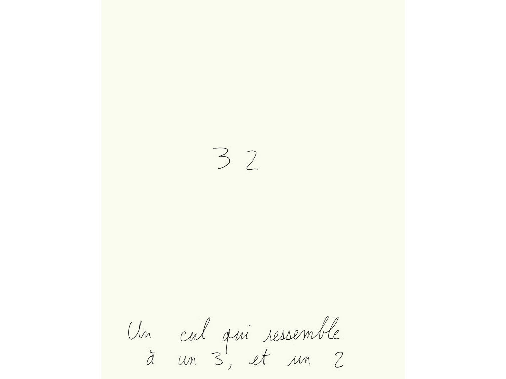 Claude Closky, 'Un cul qui ressemble à un 3 et un 2 [an ass which looks like a 3 and a 2]', 1993, ballpoint pen on paper, 30 x 24 cm.
