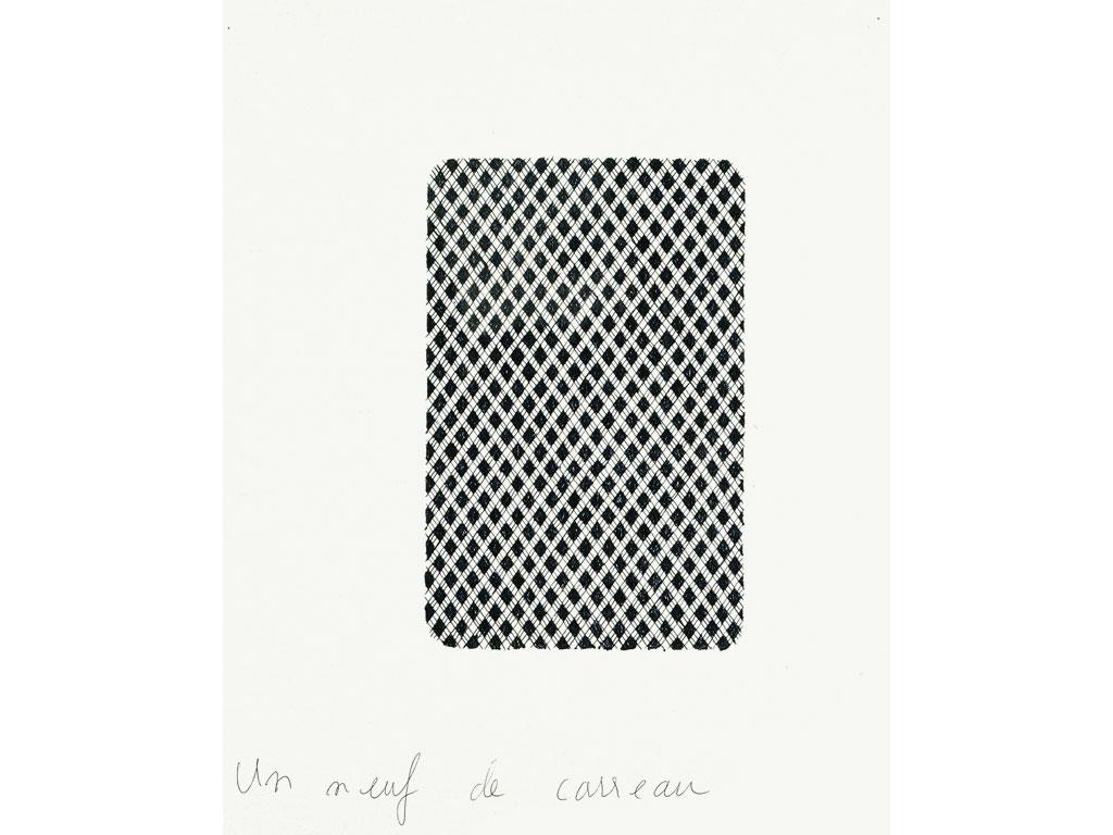 Claude Closky, 'Un neuf de carreau [nine of diamond]', 1990, black ballpoint pen on paper, 30 x 24 cm.