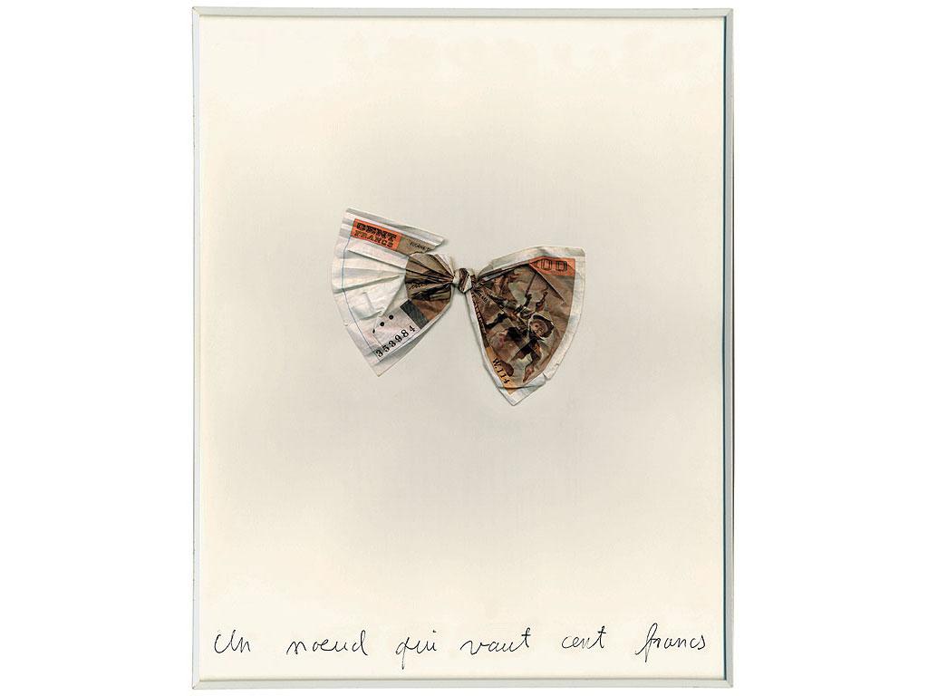 Claude Closky, 'Un nœud qui vaut cent francs [a knot worth a hundred francs]', 1990, banknote, ballpoint on paper, 30 x 24 cm.