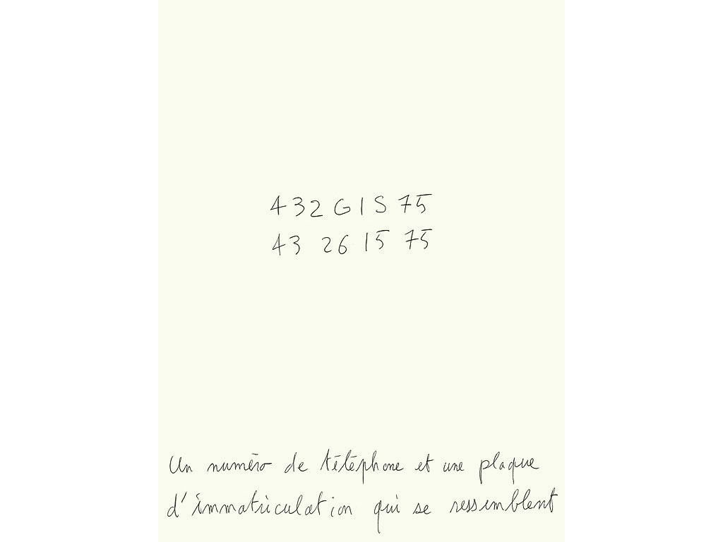 Claude Closky, 'Un numéro de téléphone et une plaque d'imatriculation qui se ressemblent [a telephone number and a license plate that look alike]', 1991, ballpoint pen on paper, 30 x24 cm.