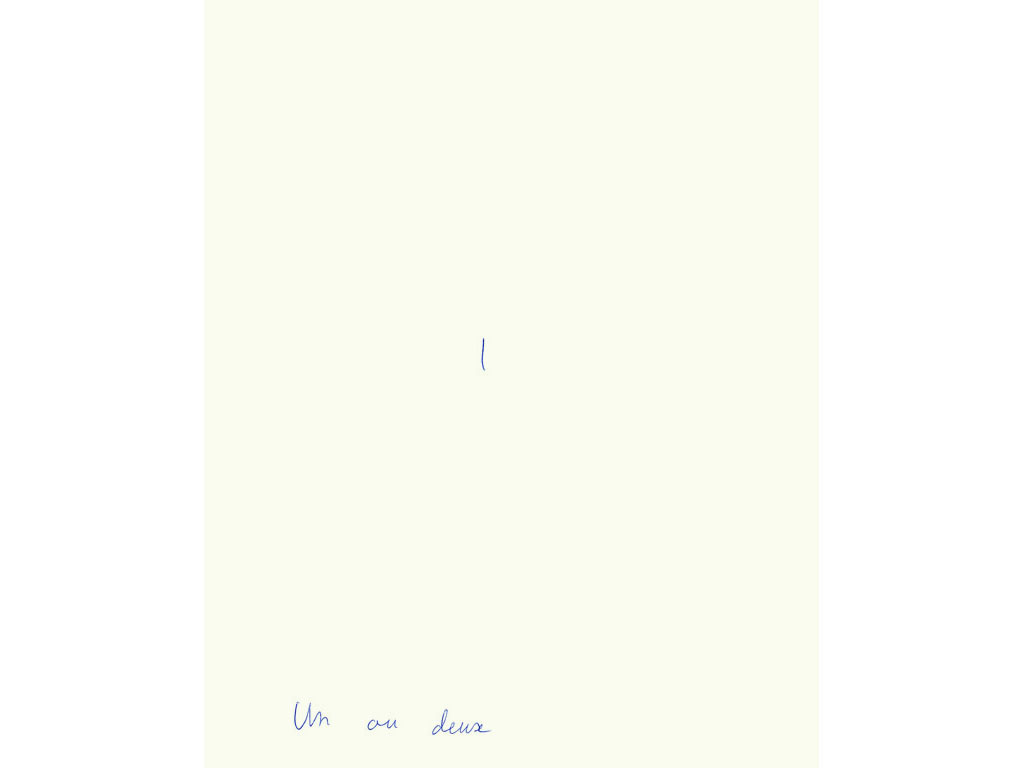 Claude Closky, 'Un ou deux [one or two]', 1993, ballpoint pen on paper, 30 x 24 cm.