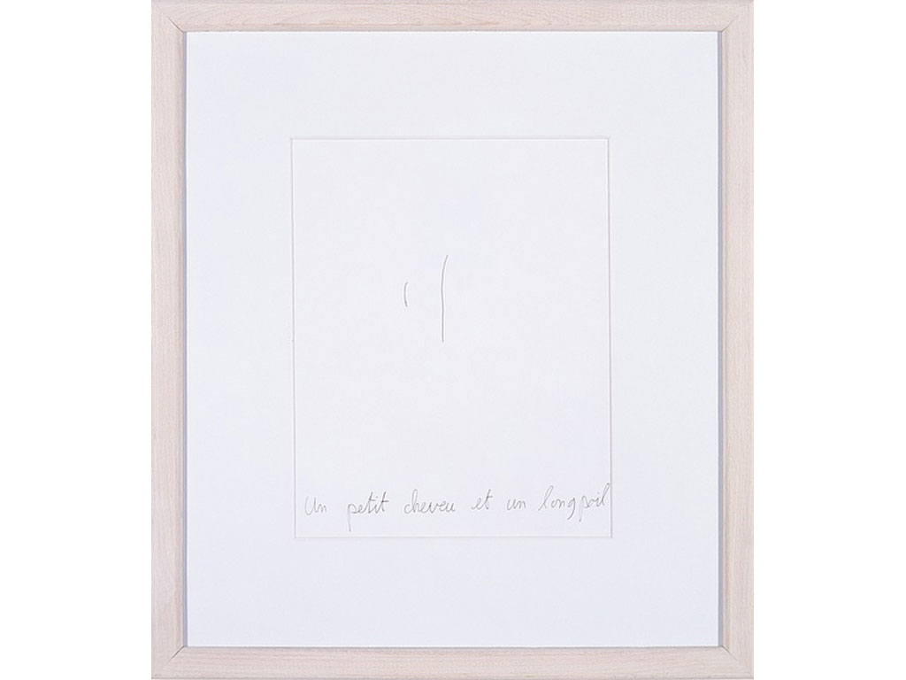 Claude Closky, 'Un petit cheveu et un long poil [a small hair and a long body hair]', 1993, black ballpoint pen on paper, 30 x 24 cm.