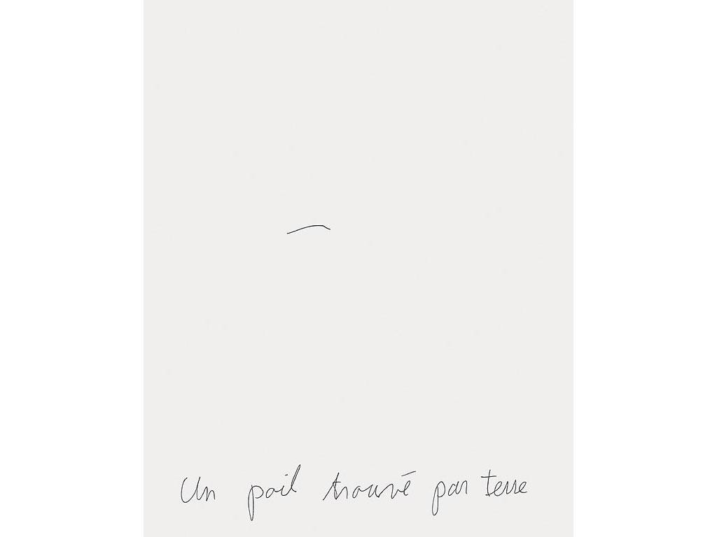 Claude Closky, 'Un poil trouvé par terre [a body hair found on the ground]', 1993, ballpoint pen on paper, 30 x 24 cm.