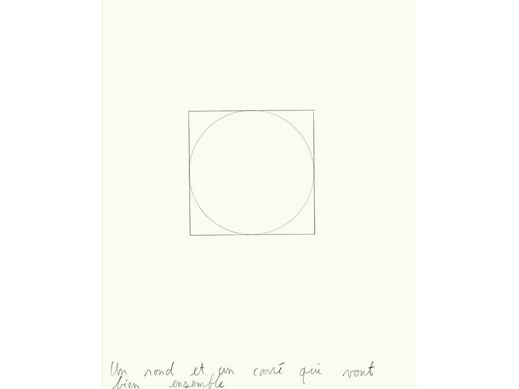 Claude Closky, 'Un rond et un carré qui vont bien ensemble [a circle and a square that go well together]', 1991, graphite on paper, 30 x 24 cm.