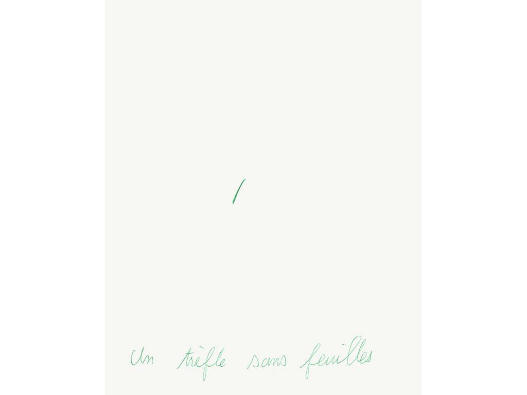 Claude Closky, 'Un trèfle sans feuilles [a clover without leafs]', 1994, green ballpoint pen on paper, 30 x 24 cm.