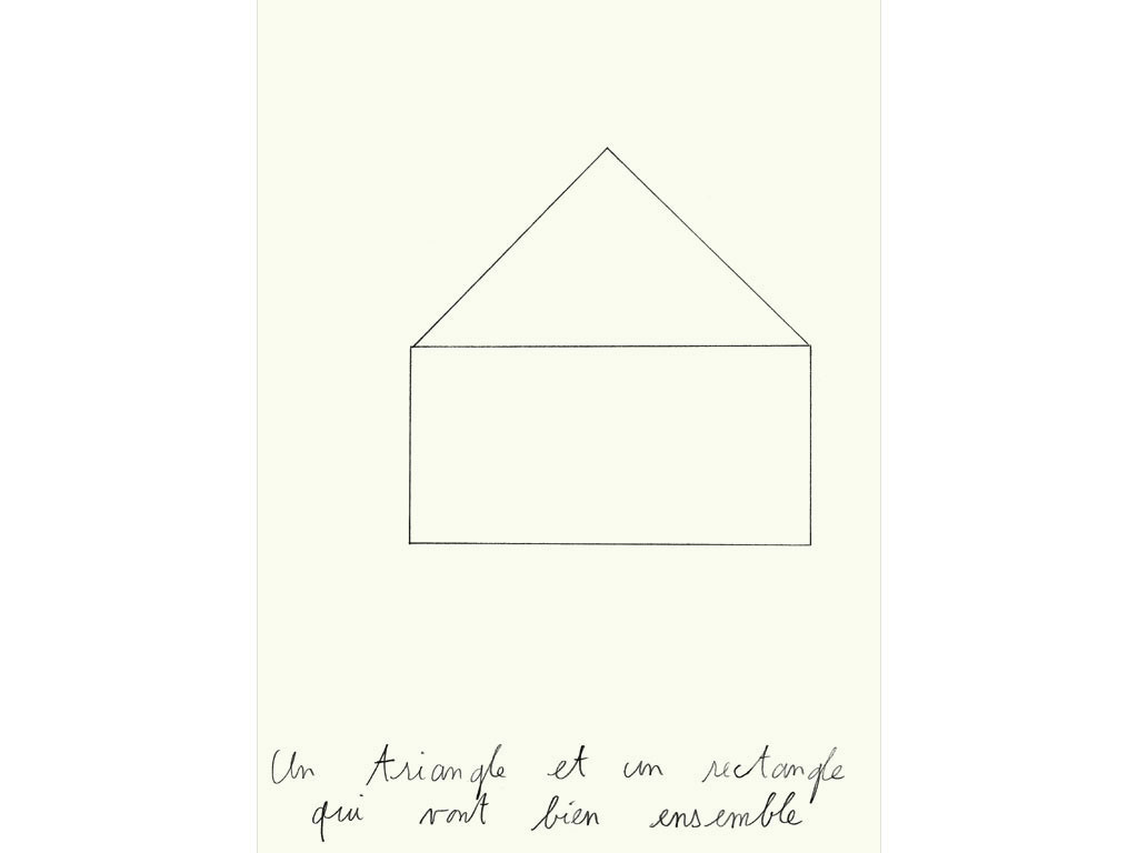 Claude Closky, 'Un triangle et un rectangle qui vont bien ensemble [a triangle and a rectangle that go well together],' 1990, black lead on paper, 30 x 24 cm.