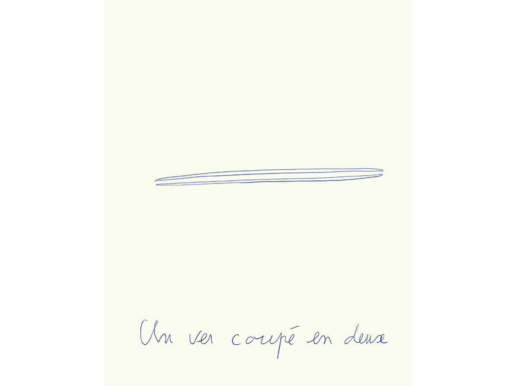 Claude Closky, 'Un ver coupé en deux [Worm cut in two]', 1996, blue ballpoint pen on paper, 30 x 24 cm.