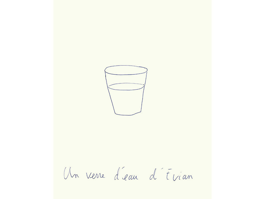 Claude Closky, 'Un verre d'eau d'Evian [A Glass of Evian Spring Water]', 1996, blue ballpoint pen on paper, 30 x 24 cm.