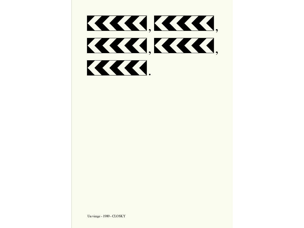 Claude Closky, 'Un virage [Curve],' 1989, laser print on paper, 29,7 x 21 cm.