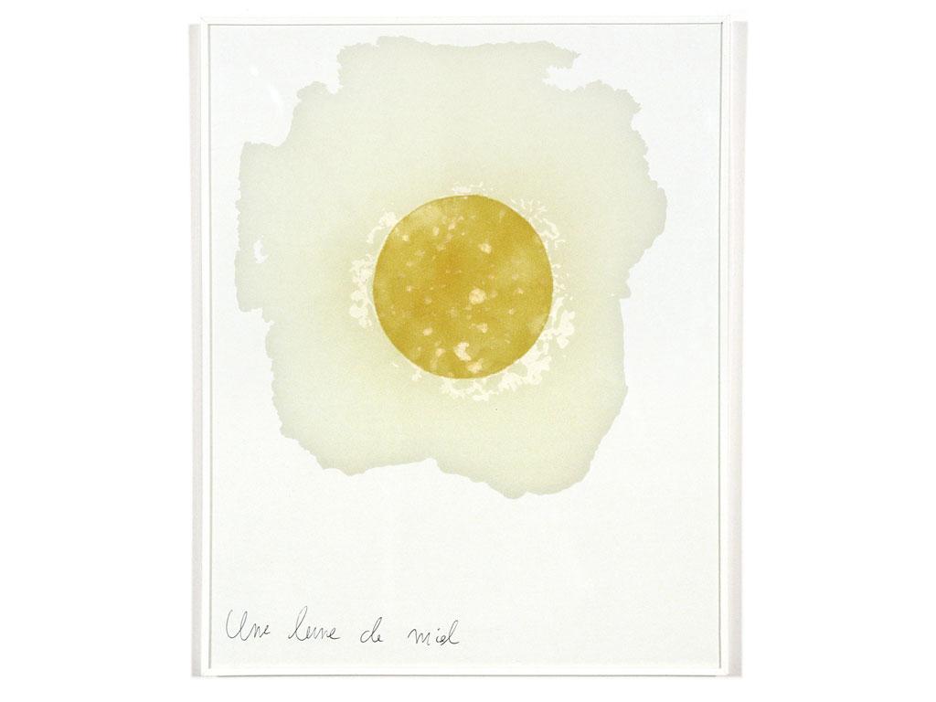 Claude Closky, 'Une lune de miel [a honey moon]', 1990, cardboard, honey and ballpoint pen, 30 x 24 cm.