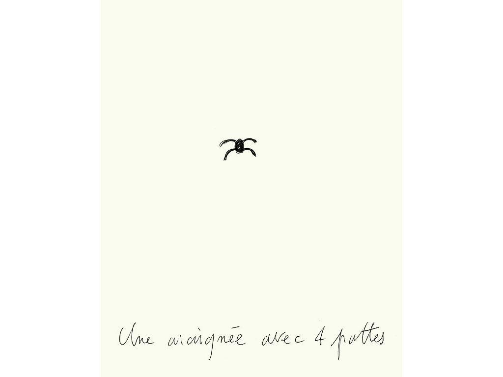 Claude Closky, 'Une araignée avec 4 pattes [a spider with 4 legs]', 1994, black ballpoint pen on paper, 30 x 24 cm.