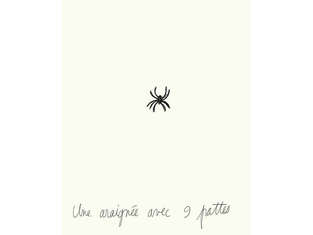 Claude Closky, 'Une araignée avec 9 pattes [a spider with 9 legs]', 1994, black ballpoint pen on paper, 30 x 24 cm.
