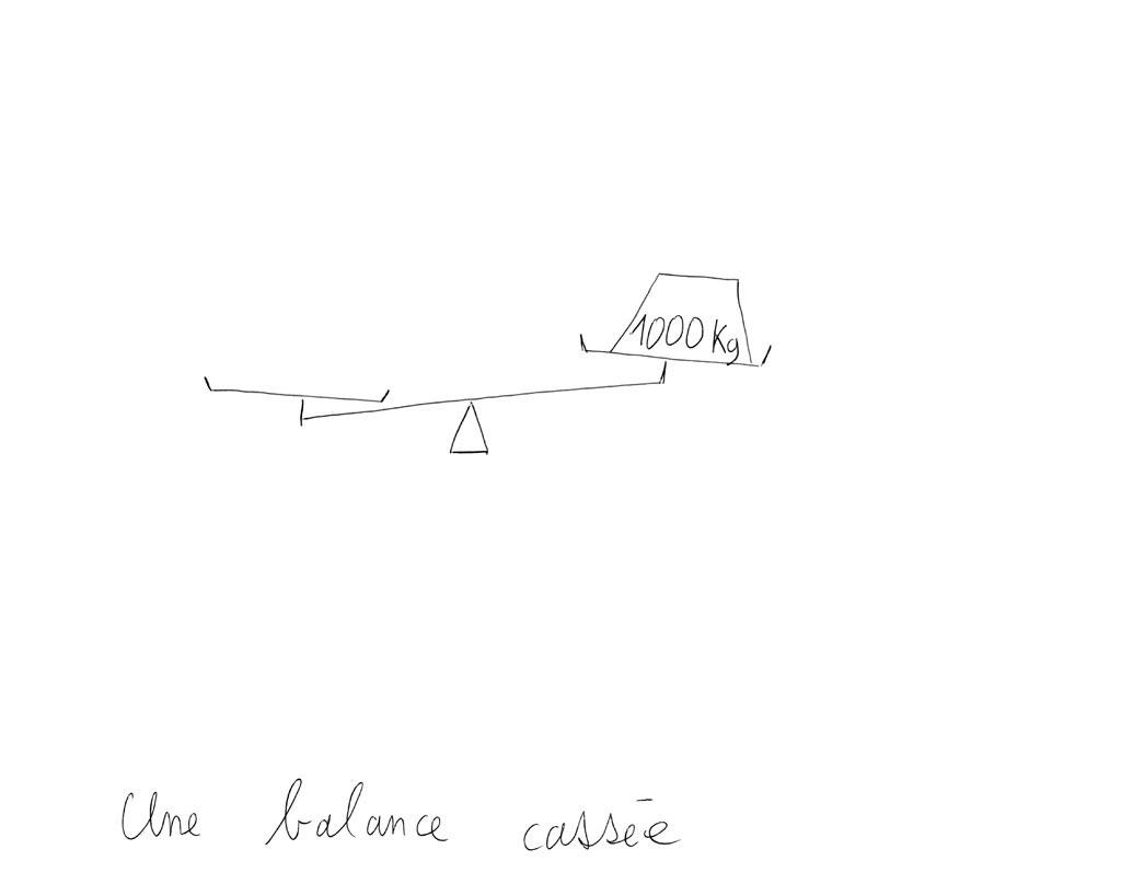 Claude Closky, 'Une balance cassée [broken scale]', 1992, ballpoint pen on paper, 30 x 24 cm.
