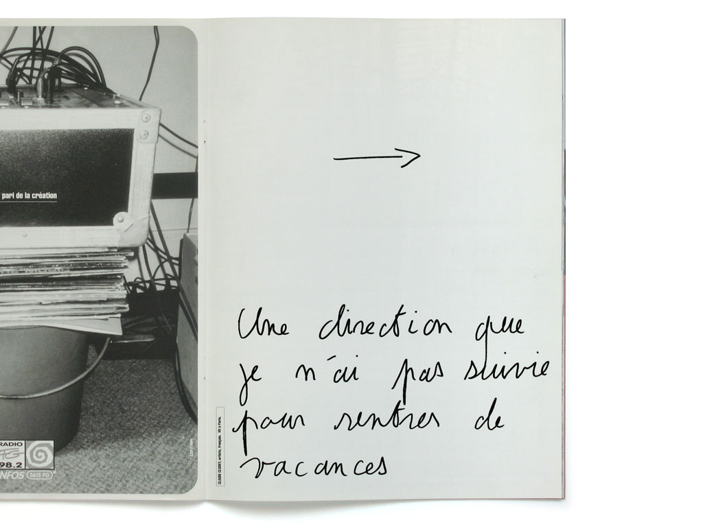 Claude Closky, 'Une direction que je n'ai pas suivie pour rentrer de vacances [A way I didn't take to come back home from vacation]', 1995, Paris: Self Service #1 (Octobre), p. 45.