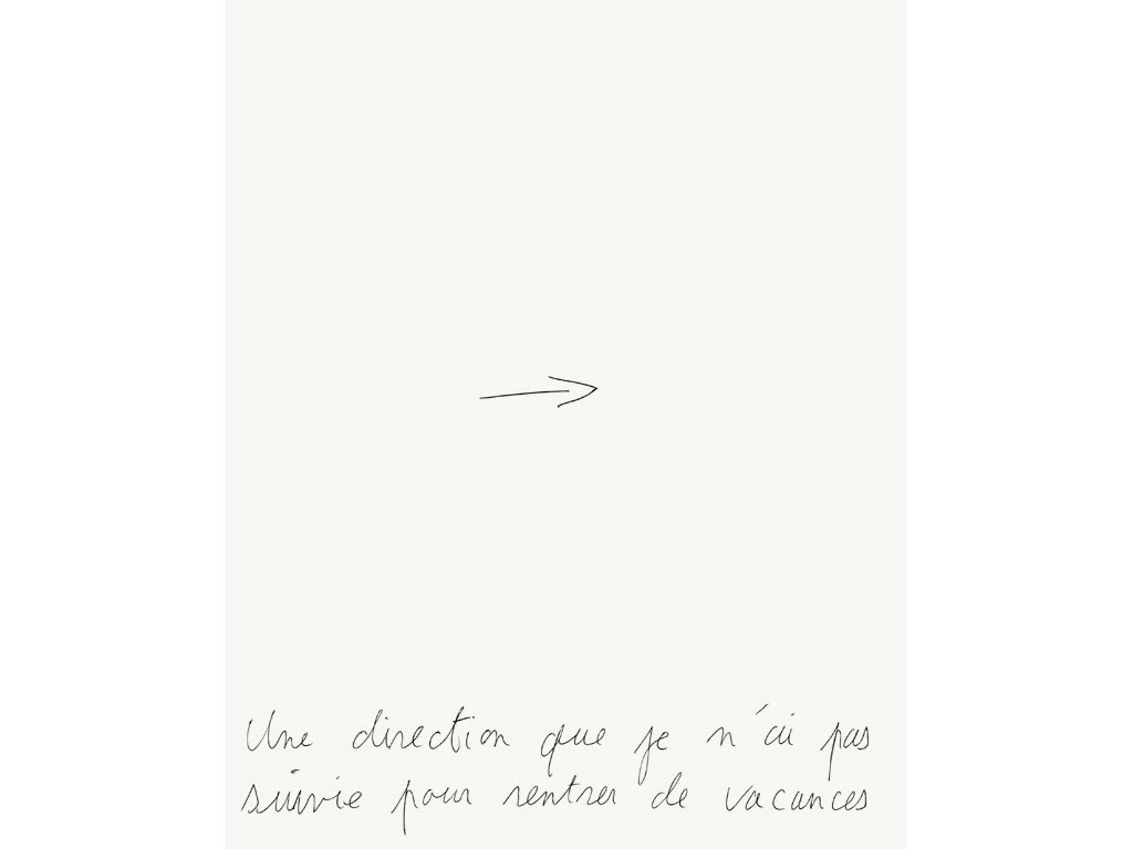 Claude Closky, 'Une direction que je n'ai par suivie pour rentrer de vacances [A Direction I Didn't Follow When Returning from Vacation]', 1995, ballpoint pen on paper, 30 x 24 cm.