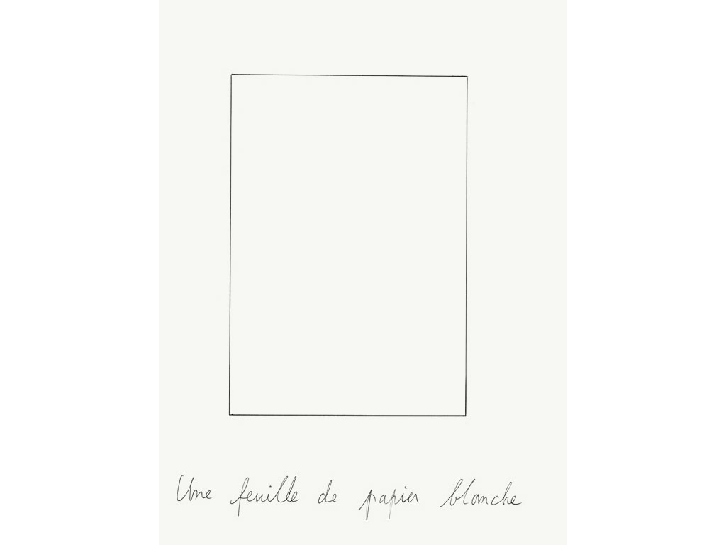 claude closky under construction une feuille de papier blanche a white sheet of paper. Black Bedroom Furniture Sets. Home Design Ideas