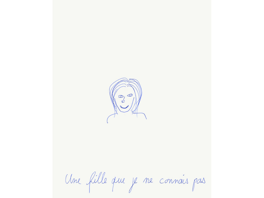 Claude Closky, 'Une fille que je ne connais pas [a girl I don't know]', 1994, ballpoint pen on paper, 30 x 24 cm.