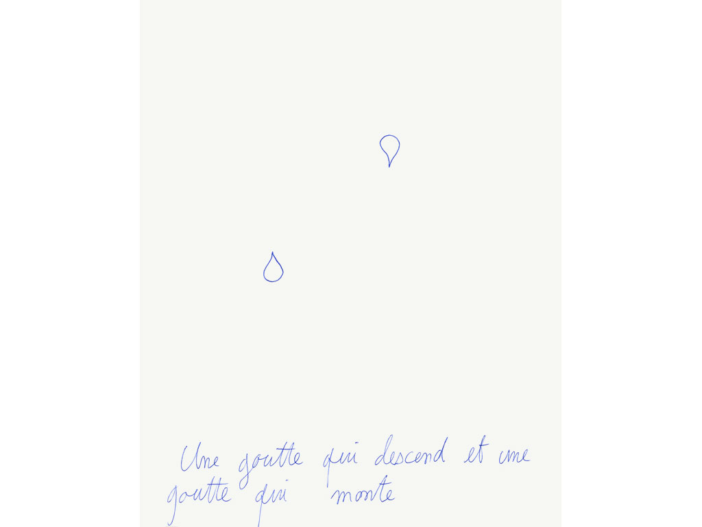 Claude Closky, 'Une goutte qui descend et une goutte qui monte  [a drop going down and a drop going up]', 1994, blue ballpoint pen on paper, 30 x 24 cm.