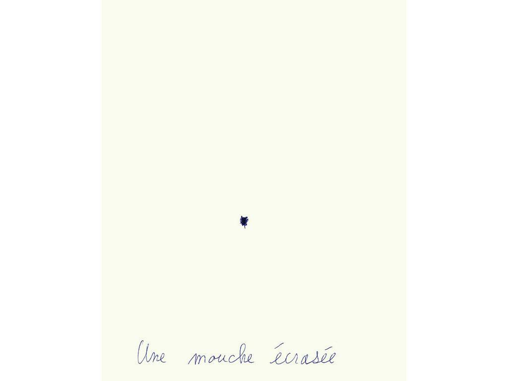 Claude Closky, 'Une mouche écrasée [a squashed fly] ', 1994, ballpoint pen on paper, 30 x 24 cm.