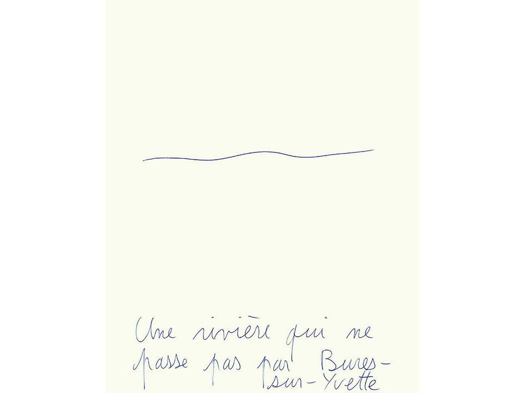 Claude Closky, 'Une rivière qui ne passe pas par Bures-sur-Yvette [A river which doesn't cross Bures-sur-Yvette]', 1996, blue ballpoint pen on paper, 30 x 24 cm.
