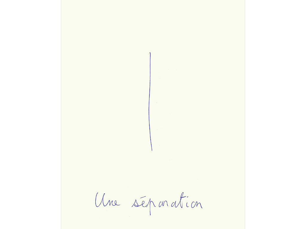 Claude Closky, 'Une séparation [A separation]', 1994, blue ballpoint pen on paper, 30 x 24 cm.