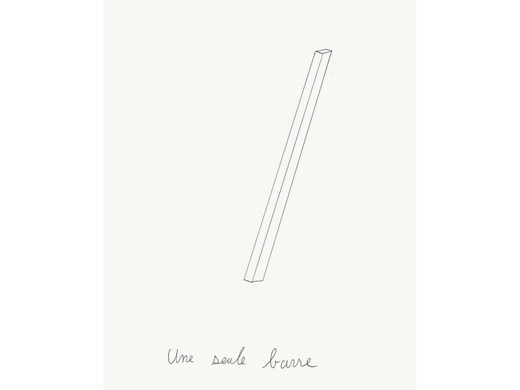 Claude Closky, 'Une seule Barre [a single rod]', 1991, ballpoint pen on paper, 30 x 24 cm.