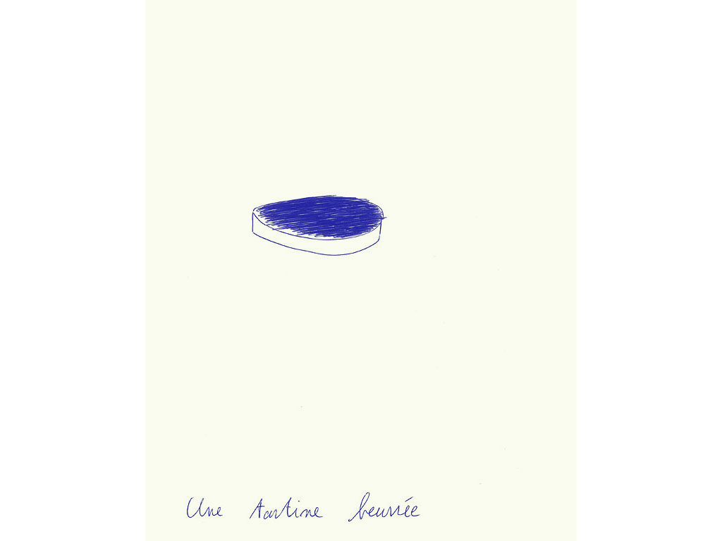 Claude Closky, 'Une tartine beurrée [a buttered slice of bread]', 1993, ballpoint pen on paper, 30 x 24 cm.