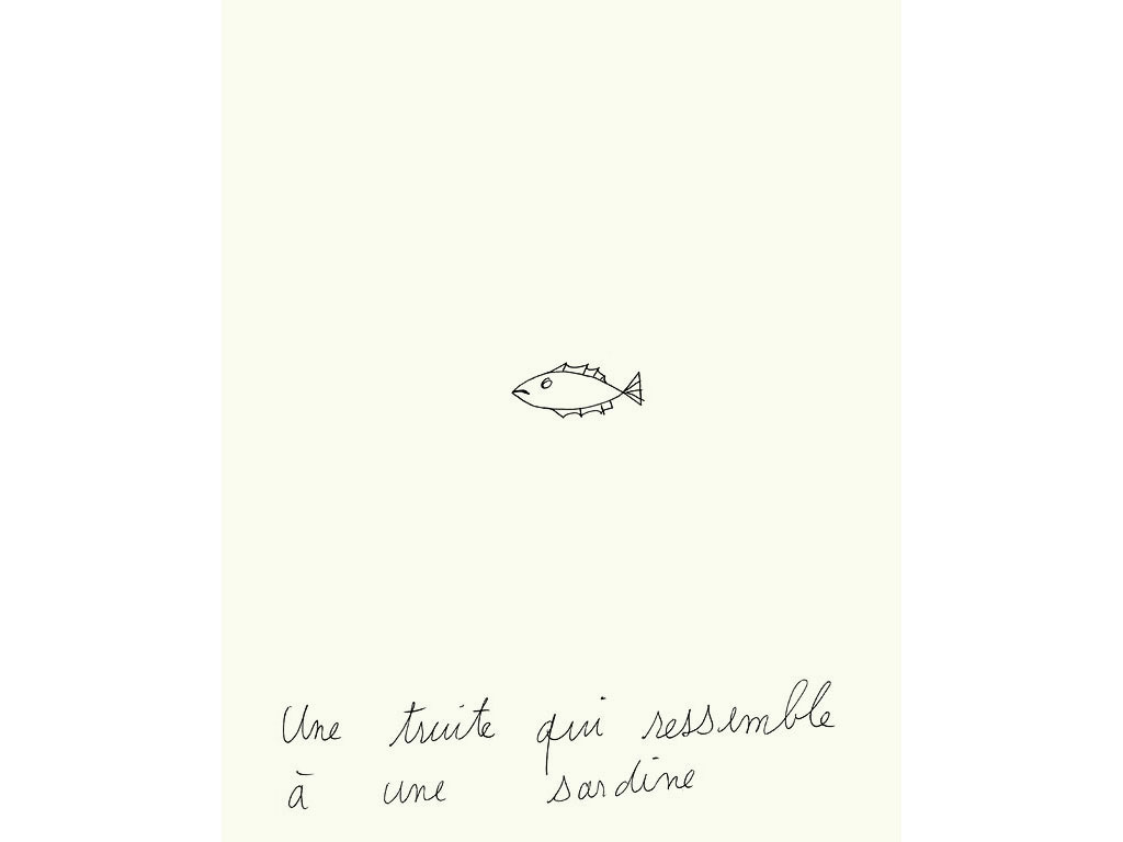 Claude Closky, 'Une truite qui ressemble à une sardine [A trout which looks like a sardine]', 1994, ballpoint pen on paper, 30 x 24 cm.