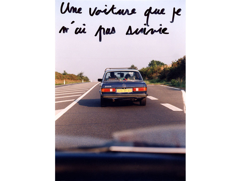 Claude Closky, 'Une voiture que je n'ai pas suivie [A car I haven't followed]', 1995, c-print, permanent felt pen, 22,5 x 15,2 cm.
