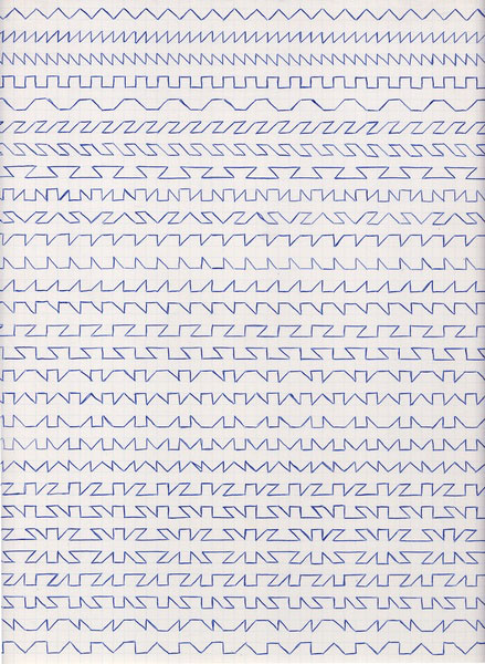 Claude Closky, 'Untitled (1,500 friezes), 1', 1992, blue ballpoint pen on grid paper, 30 x 24 cm.