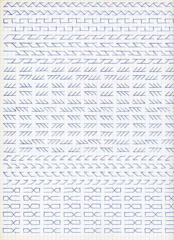 Claude Closky, 'Untitled (1,500 friezes), 7', 1992, blue ballpoint pen on grid paper, 30 x 24 cm.