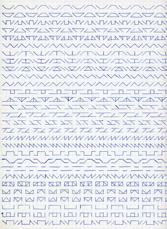 Claude Closky, 'Untitled (1,500 friezes), 9', 1992, blue ballpoint pen on grid paper, 30 x 24 cm.