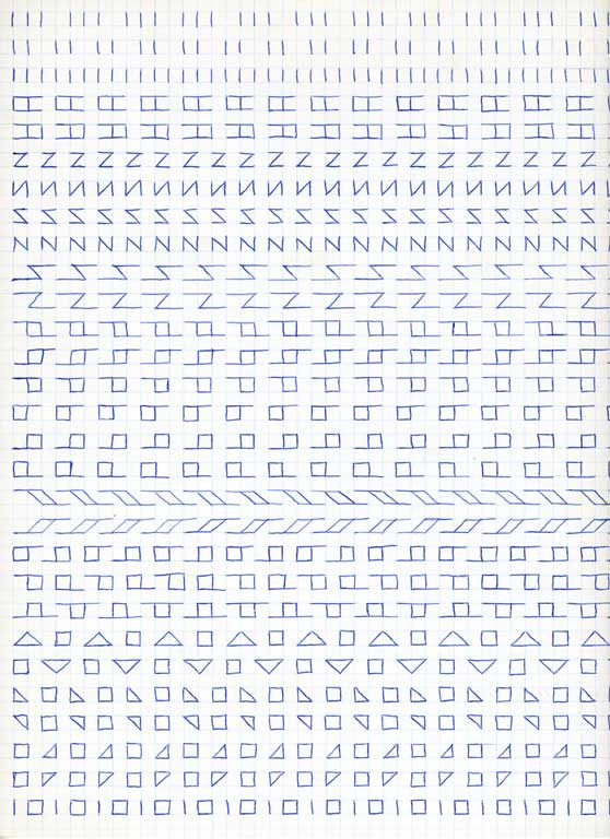 Claude Closky, 'Untitled (1,500 friezes), 12', 1992, blue ballpoint pen on grid paper, 30 x 24 cm.