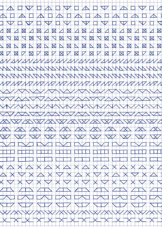 Claude Closky, 'Untitled (1,500 friezes), 14', 1992, blue ballpoint pen on grid paper, 30 x 24 cm.