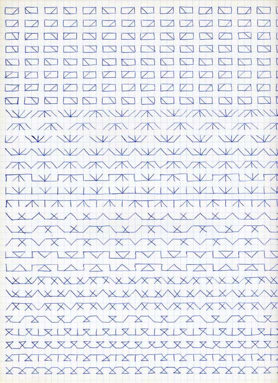 Claude Closky, 'Untitled (1,500 friezes), 15', 1992, blue ballpoint pen on grid paper, 30 x 24 cm.