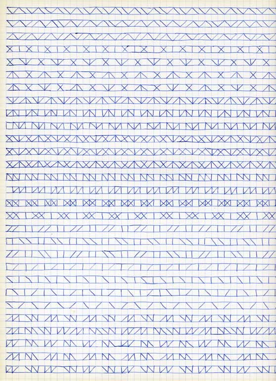 Claude Closky, 'Untitled (1,500 friezes), 18', 1992, blue ballpoint pen on grid paper, 30 x 24 cm.