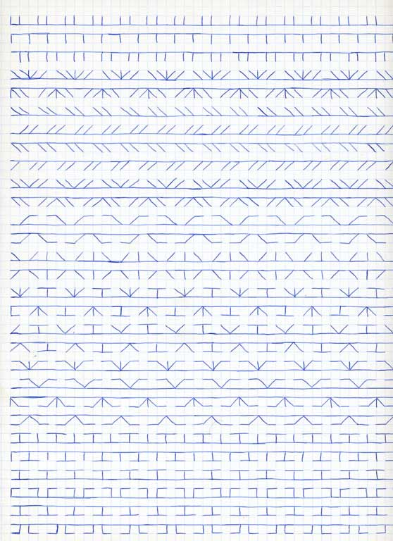 Claude Closky, 'Untitled (1,500 friezes), 21', 1992, blue ballpoint pen on grid paper, 30 x 24 cm.